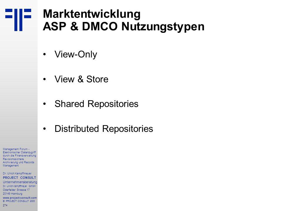Marktentwicklung ASP & DMCO Nutzungstypen