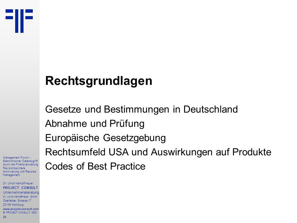 Rechtsgrundlagen Gesetze und Bestimmungen in Deutschland