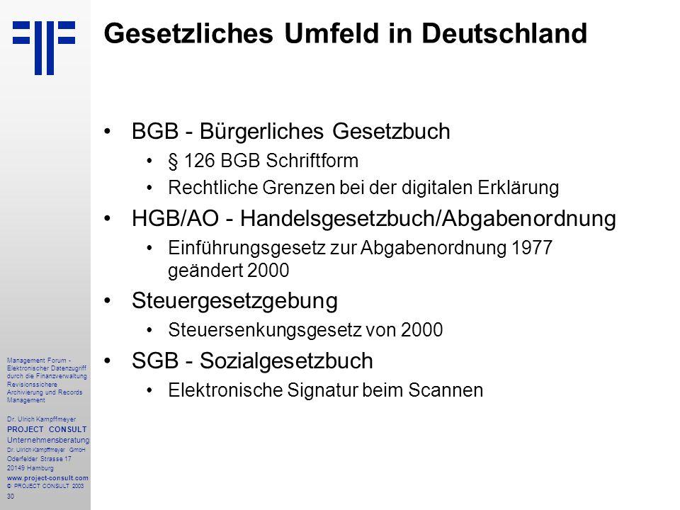Gesetzliches Umfeld in Deutschland