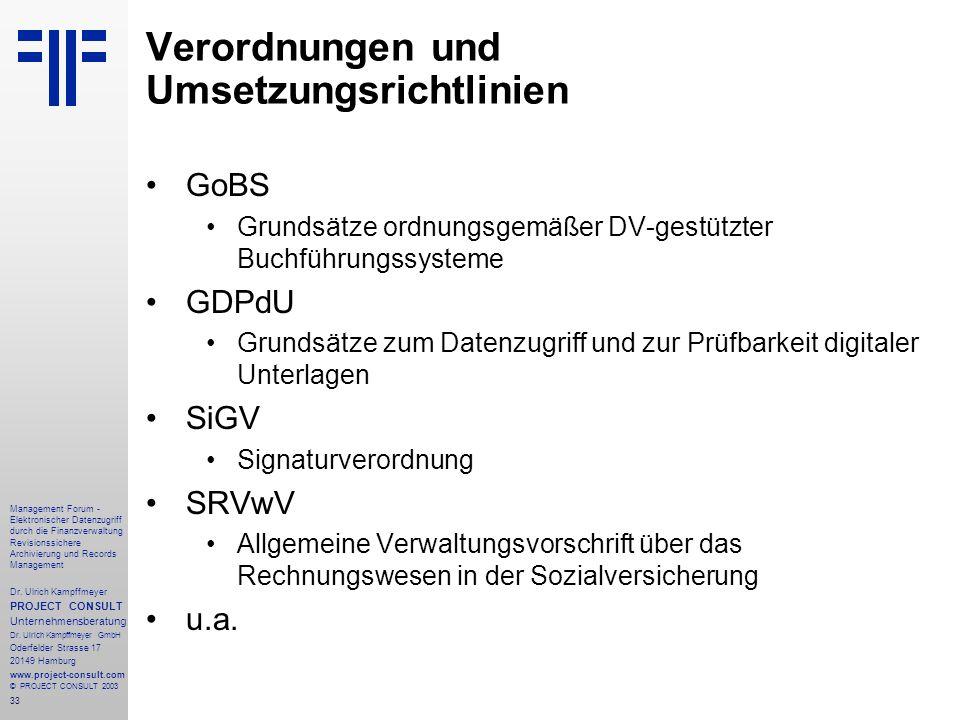 Verordnungen und Umsetzungsrichtlinien