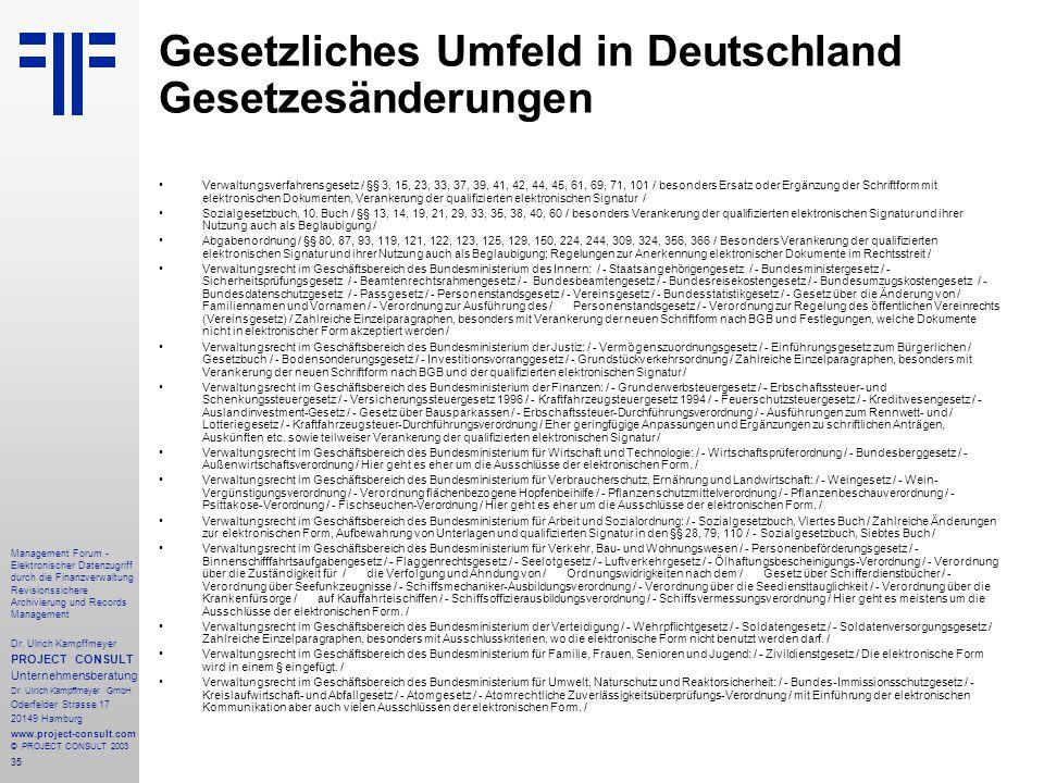 Gesetzliches Umfeld in Deutschland Gesetzesänderungen
