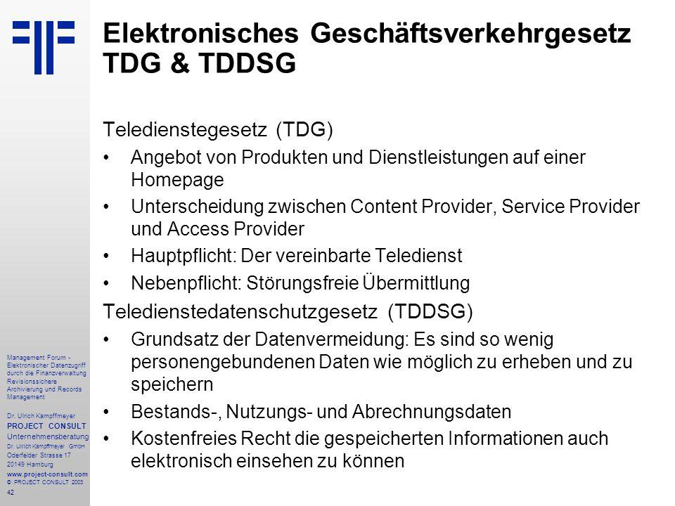 Elektronisches Geschäftsverkehrgesetz TDG & TDDSG