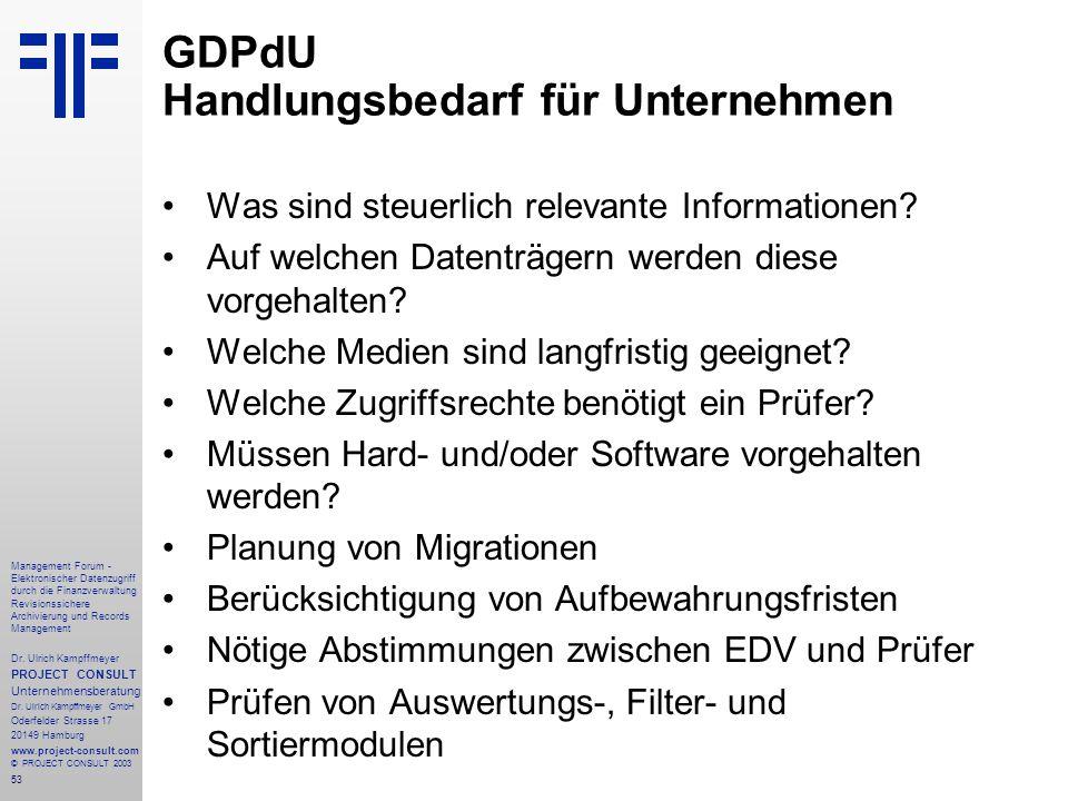 GDPdU Handlungsbedarf für Unternehmen