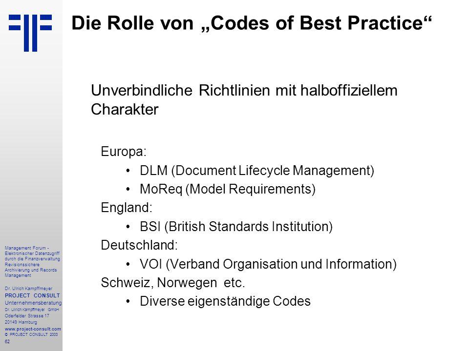 """Die Rolle von """"Codes of Best Practice"""