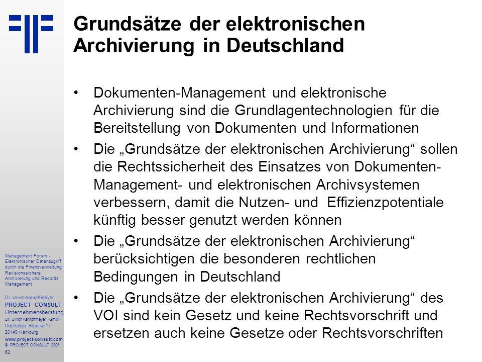 Grundsätze der elektronischen Archivierung in Deutschland