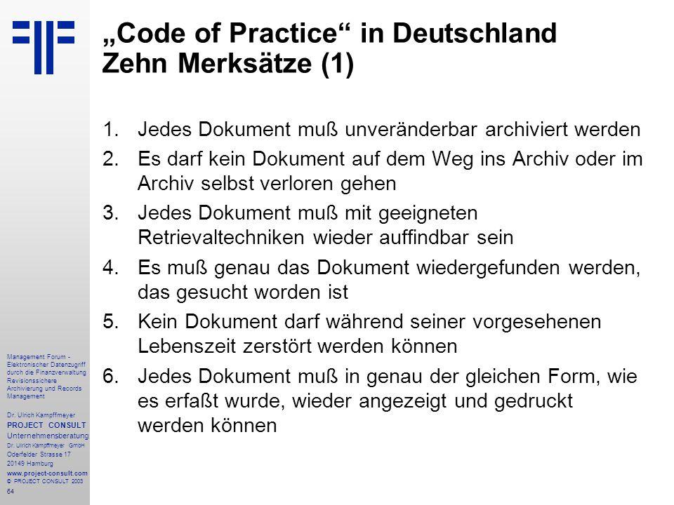 """""""Code of Practice in Deutschland Zehn Merksätze (1)"""