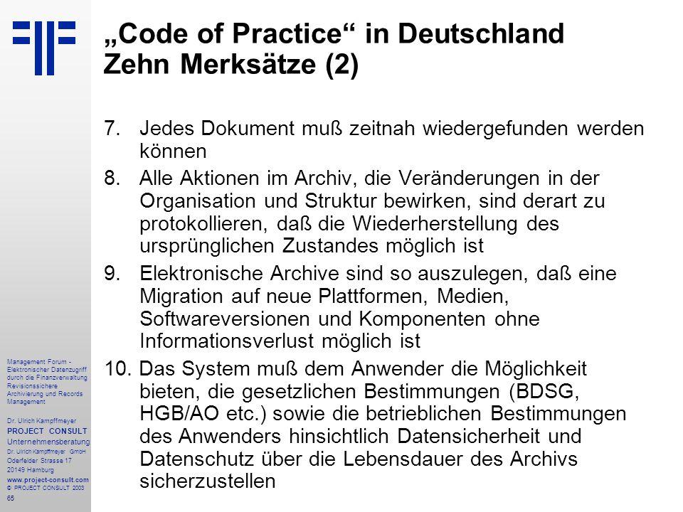 """""""Code of Practice in Deutschland Zehn Merksätze (2)"""
