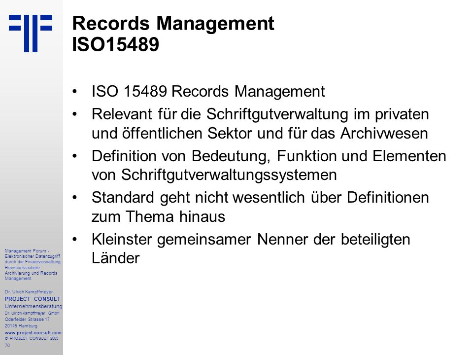 Records Management ISO15489
