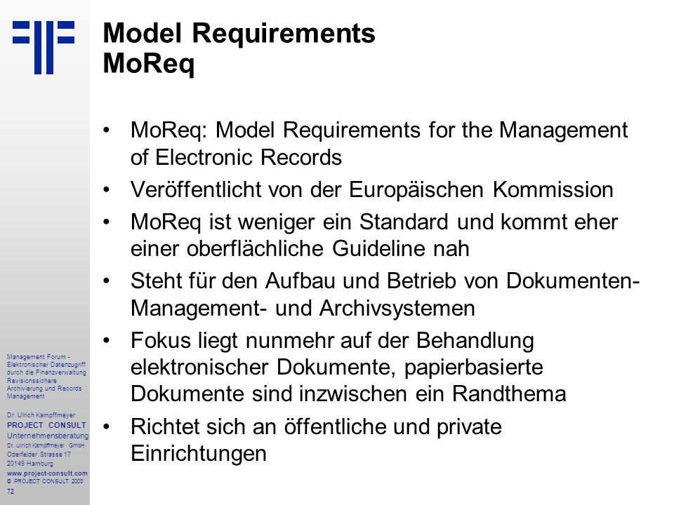Model Requirements MoReq
