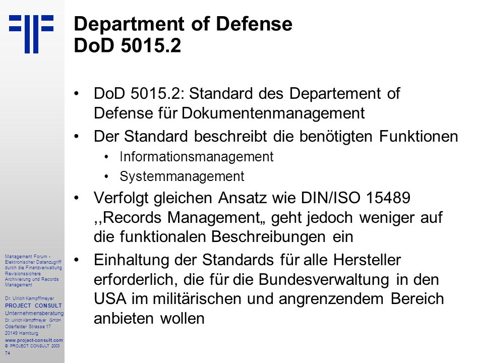 Department of Defense DoD 5015.2