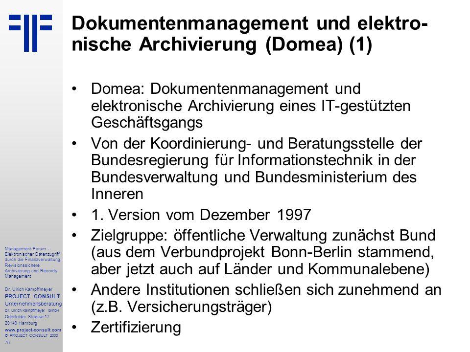 Dokumentenmanagement und elektro-nische Archivierung (Domea) (1)