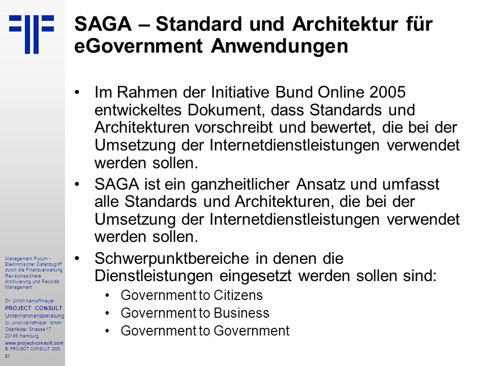 SAGA – Standard und Architektur für eGovernment Anwendungen
