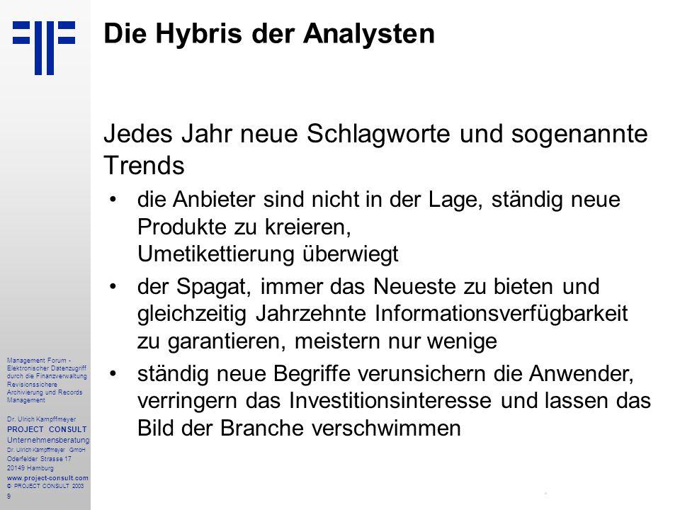 Die Hybris der Analysten