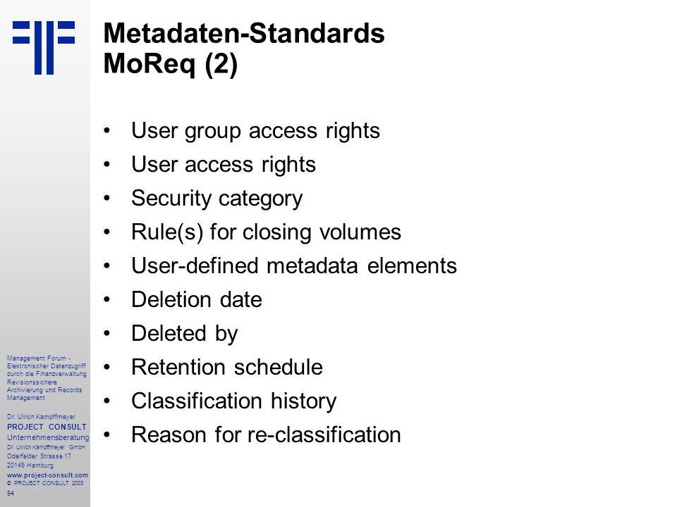 Metadaten-Standards MoReq (2)