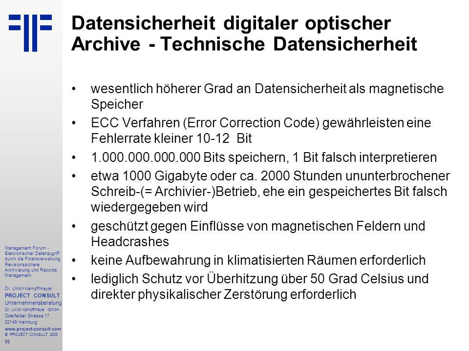 Datensicherheit digitaler optischer Archive - Technische Datensicherheit