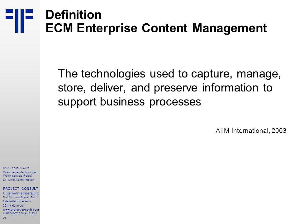 Definition ECM Enterprise Content Management