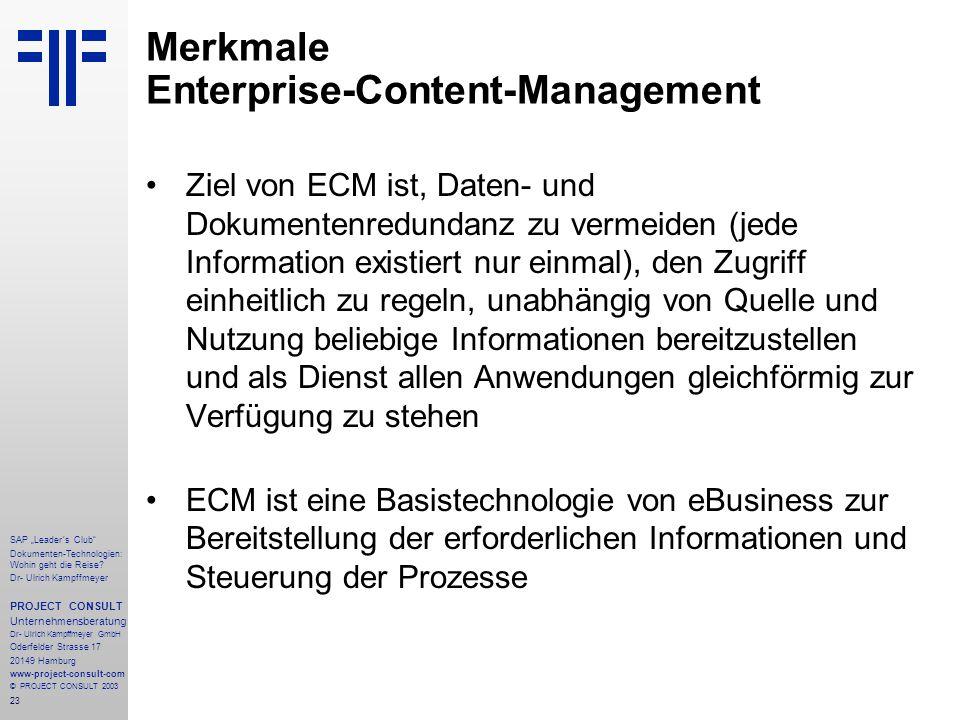 Merkmale Enterprise-Content-Management