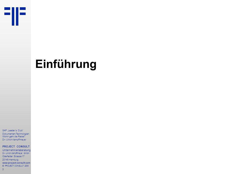 """Einführung PROJECT CONSULT Unternehmensberatung SAP """"Leader´s Club"""