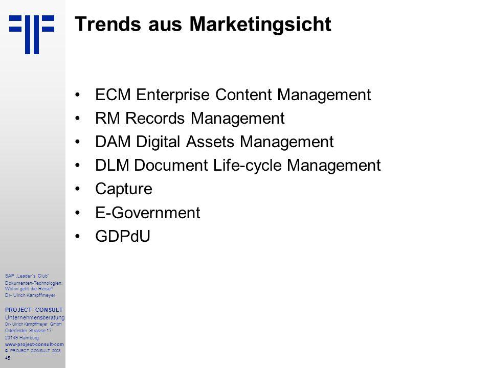 Trends aus Marketingsicht