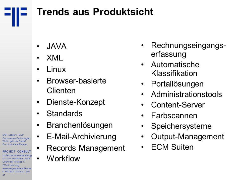 Trends aus Produktsicht