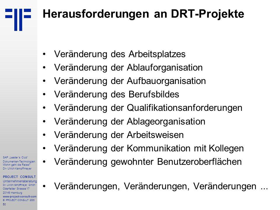 Herausforderungen an DRT-Projekte