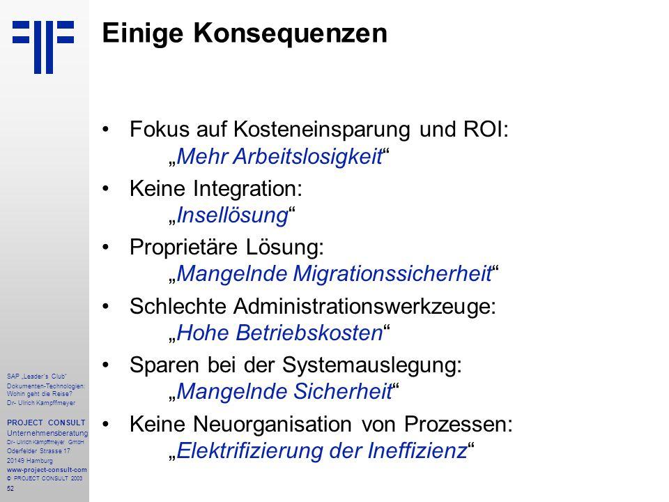 """Einige Konsequenzen Fokus auf Kosteneinsparung und ROI: """"Mehr Arbeitslosigkeit Keine Integration: """"Insellösung"""
