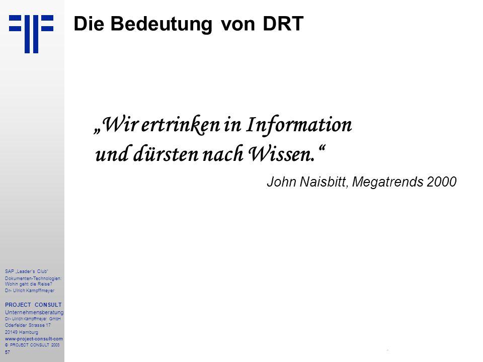 """Die Bedeutung von DRT """"Wir ertrinken in Information und dürsten nach Wissen. John Naisbitt, Megatrends 2000."""