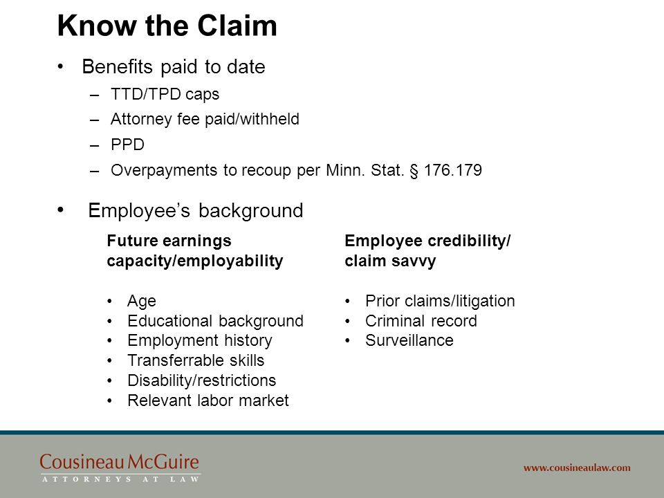 Know the Claim Employee's background Benefits paid to date