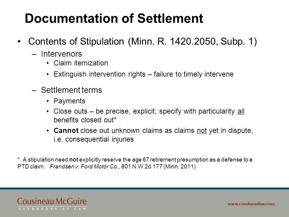 Documentation of Settlement