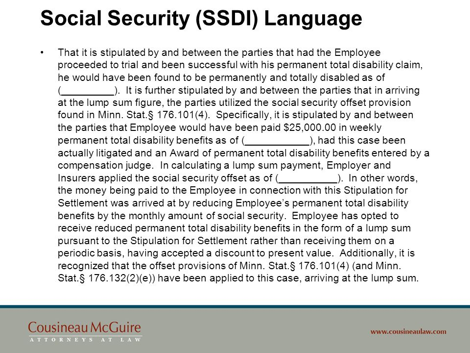 Social Security (SSDI) Language