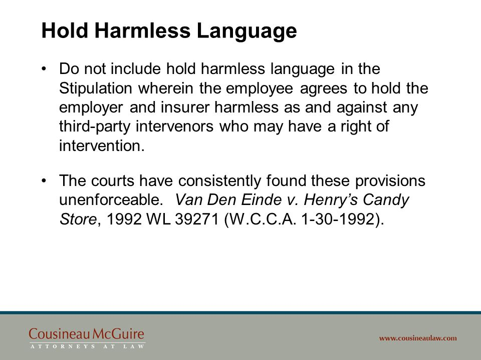 Hold Harmless Language