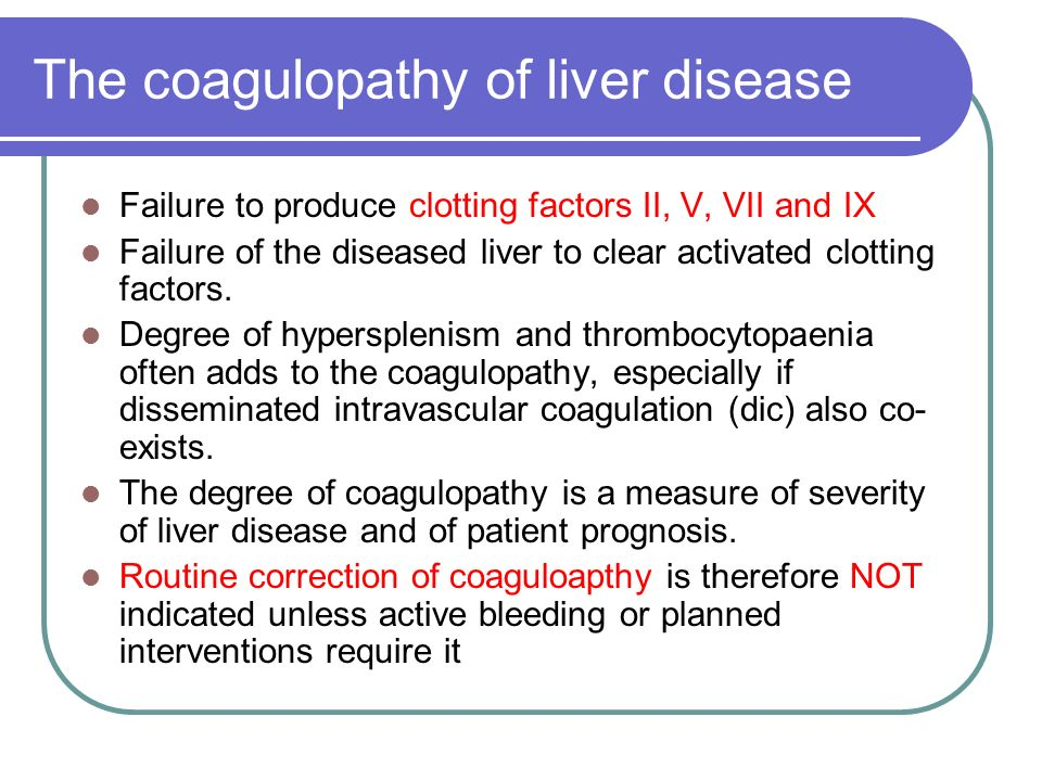 The coagulopathy of liver disease