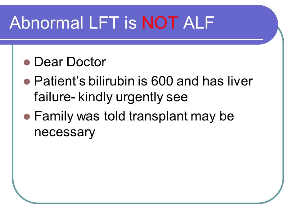 Abnormal LFT is NOT ALF Dear Doctor