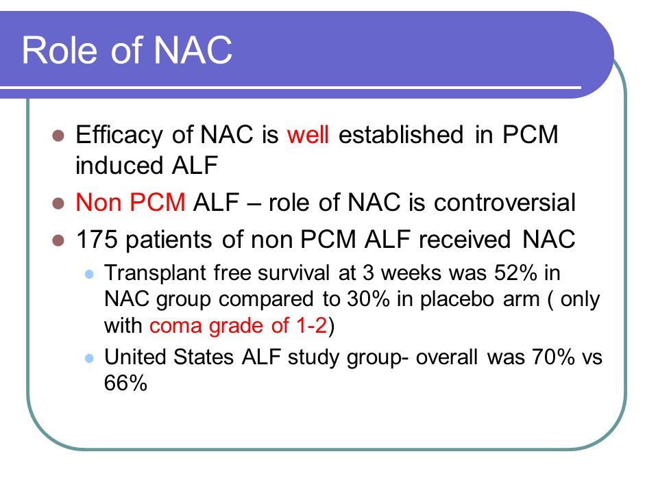 Role of NAC Efficacy of NAC is well established in PCM induced ALF