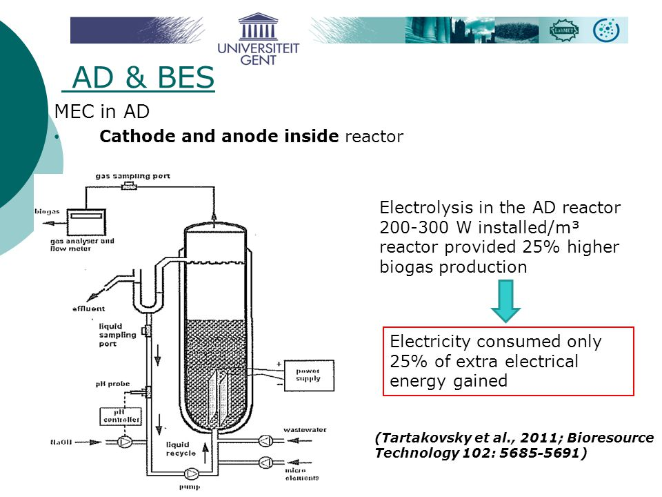 AD & BES MEC in AD Cathode and anode inside reactor