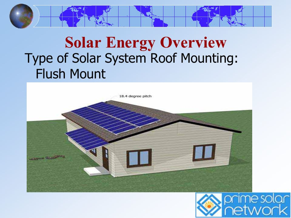 Solar Energy Overview Type of Solar System Roof Mounting: Flush Mount