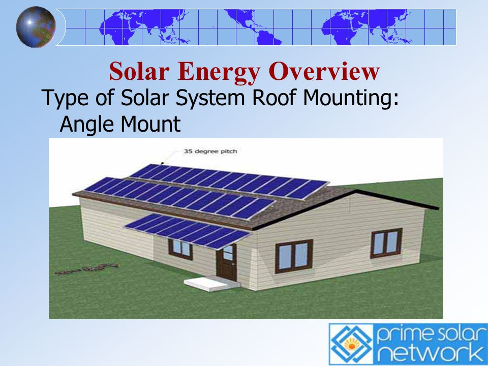 Solar Energy Overview Type of Solar System Roof Mounting: Angle Mount