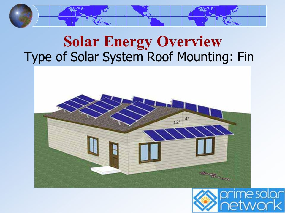 Solar Energy Overview Type of Solar System Roof Mounting: Fin Mount