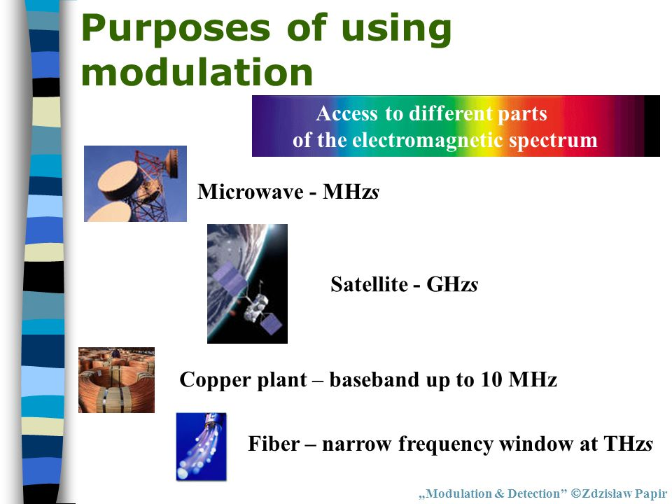 Access to different parts of the electromagnetic spectrum