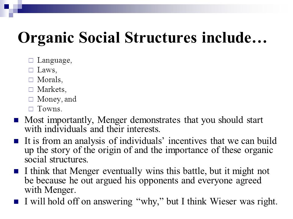 Organic Social Structures include…