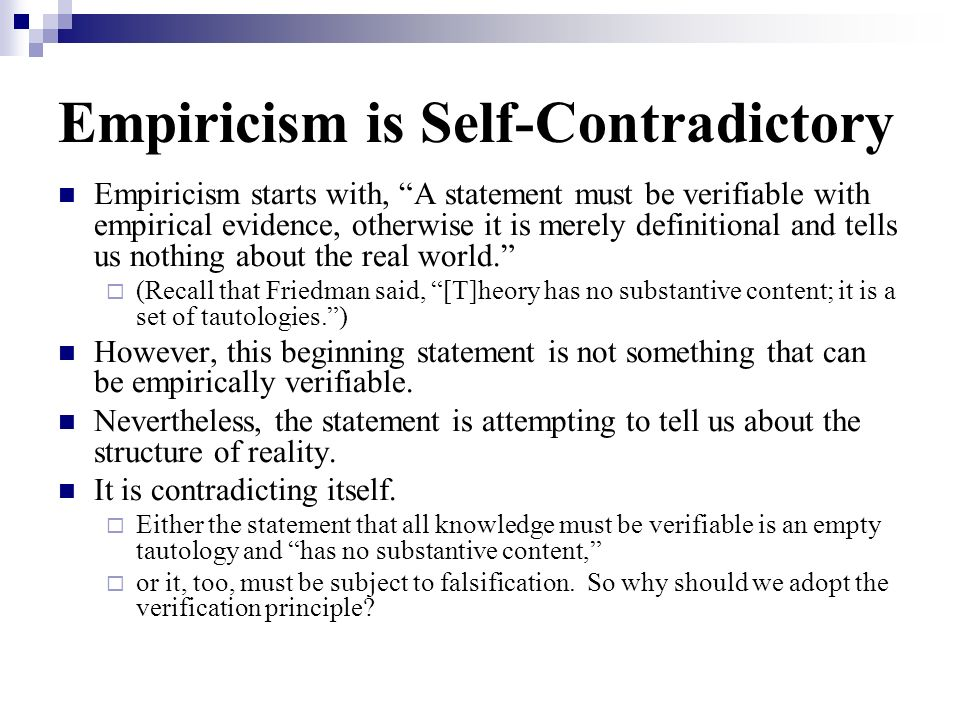 Empiricism is Self-Contradictory