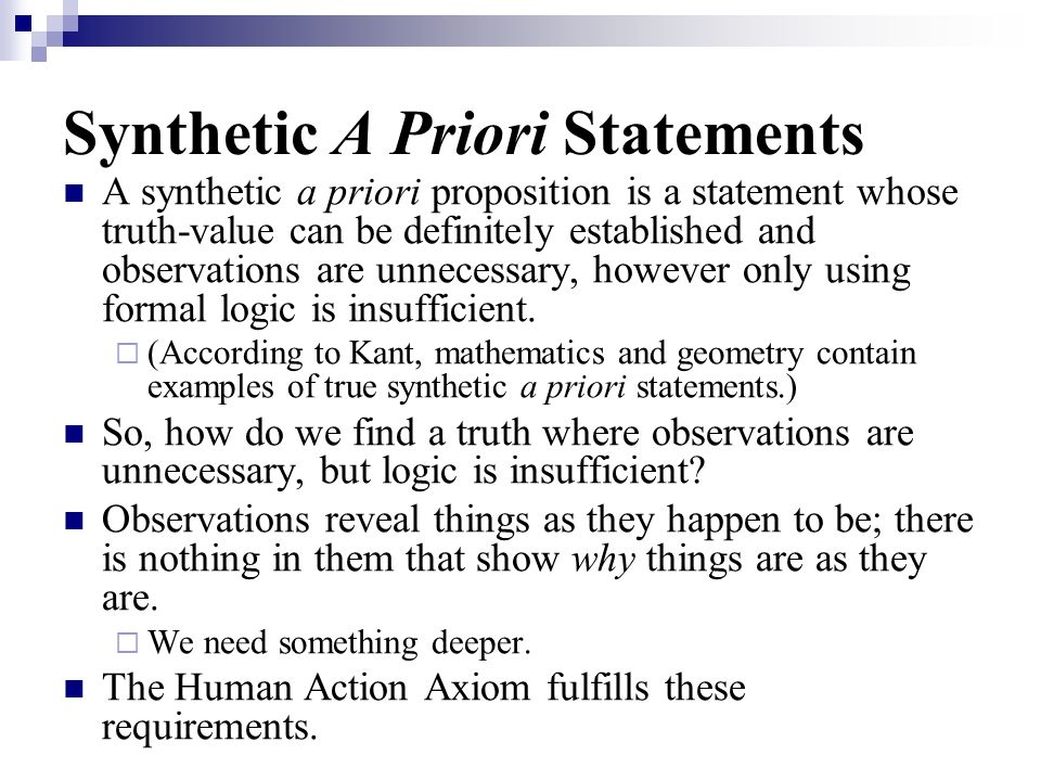 Synthetic A Priori Statements