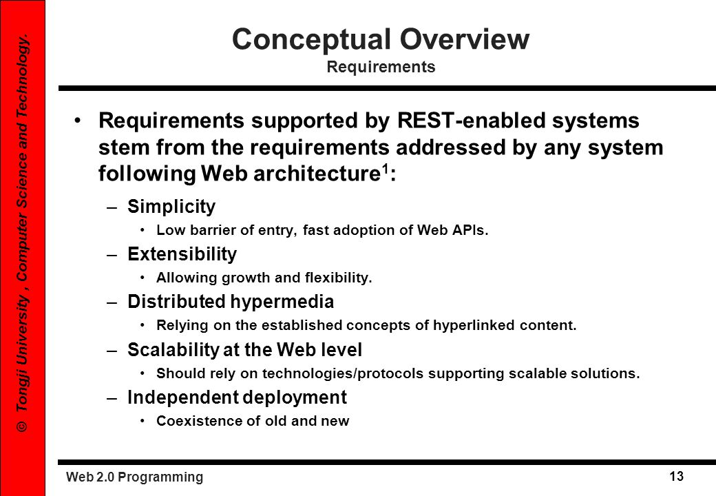 Conceptual Overview Requirements