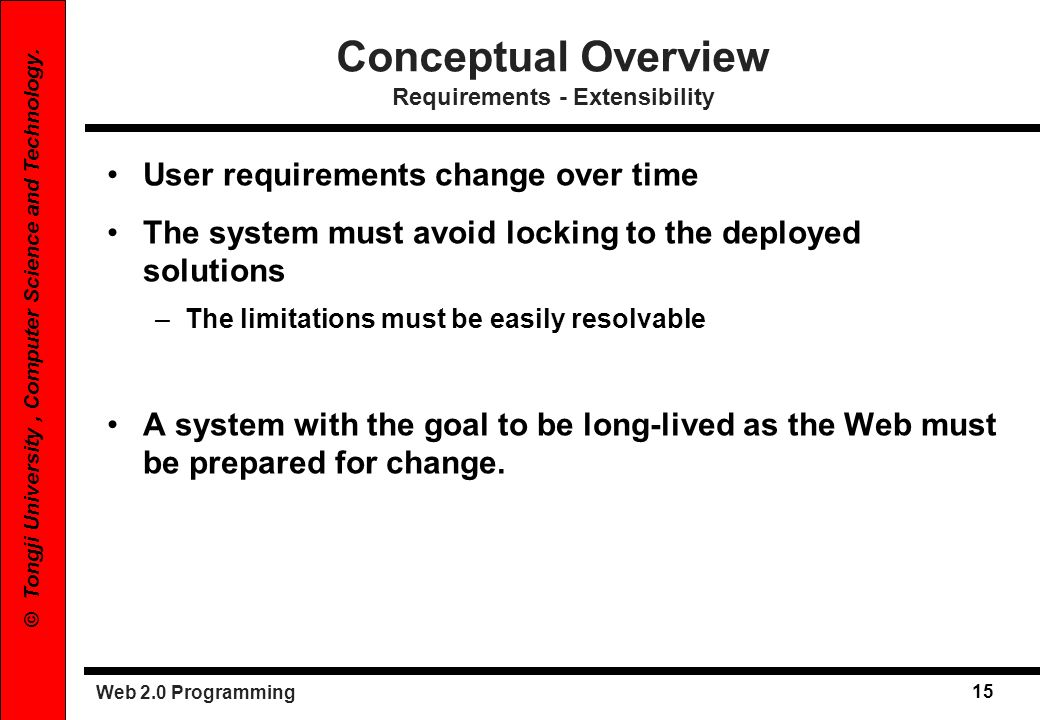 Conceptual Overview Requirements - Extensibility