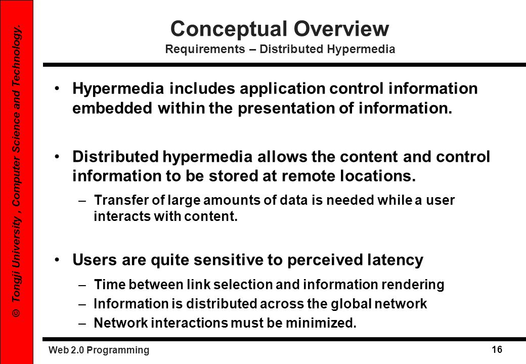 Conceptual Overview Requirements – Distributed Hypermedia