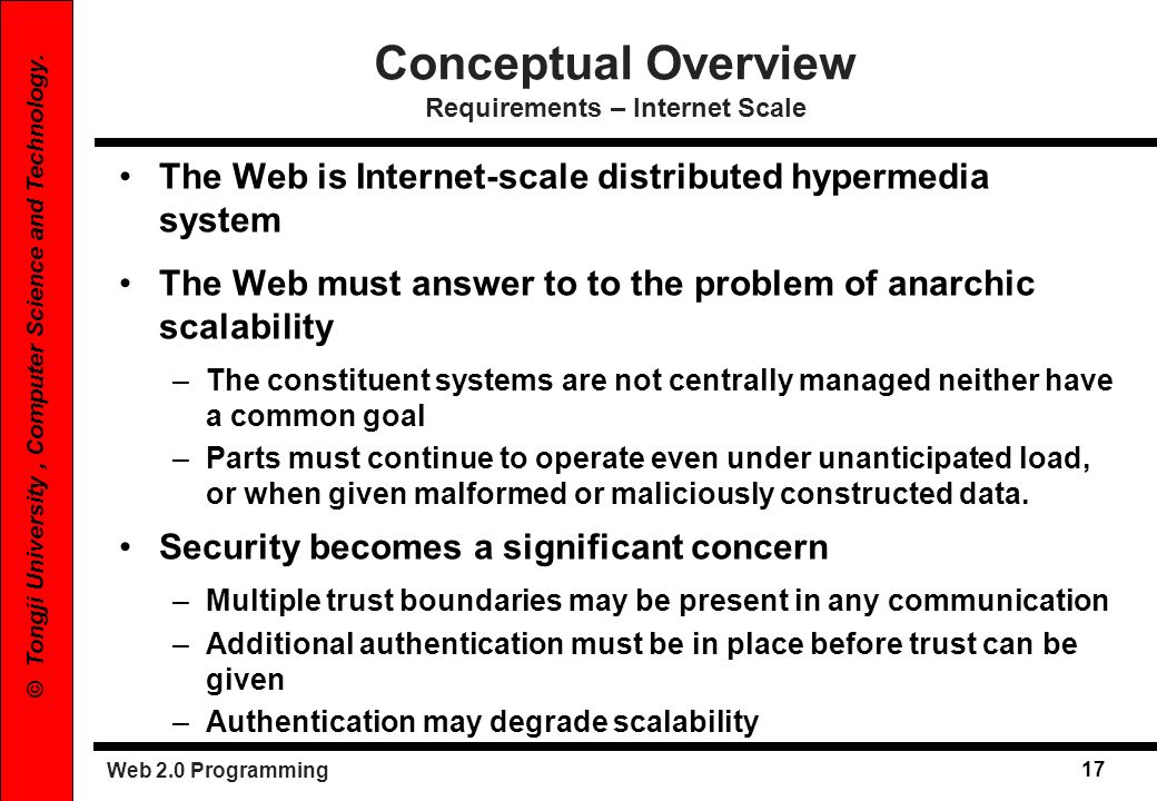 Conceptual Overview Requirements – Internet Scale
