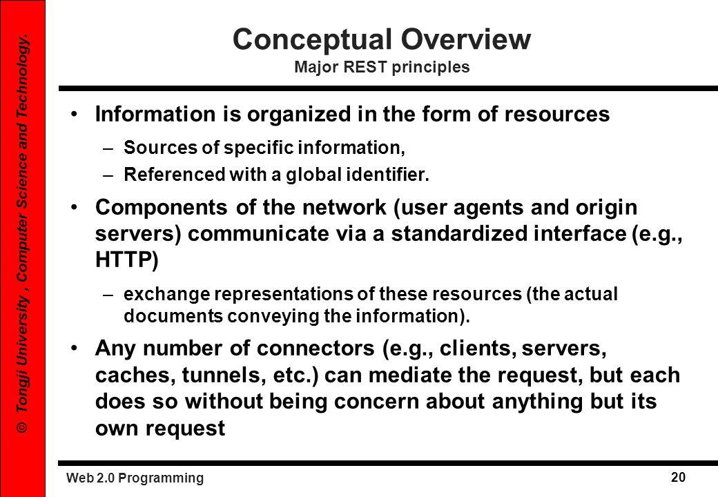 Conceptual Overview Major REST principles