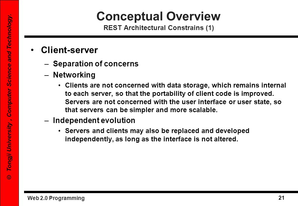 Conceptual Overview REST Architectural Constrains (1)