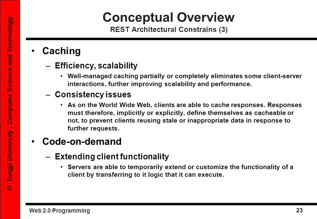 Conceptual Overview REST Architectural Constrains (3)