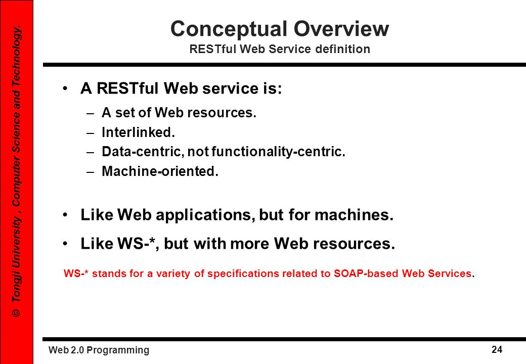 Conceptual Overview RESTful Web Service definition